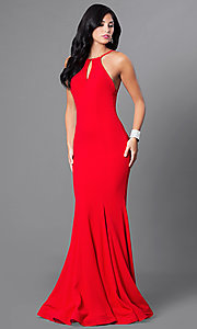 Keyhole Bodice Floor Length Mermaid Dresss