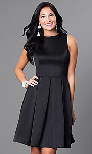 Short Box-Pleated Sleeveless Homecoming Dress