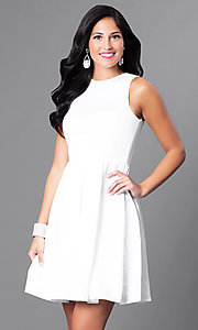 Image of short box-pleated sleeveless homecoming dress. Style: CD-1546 Detail Image 2
