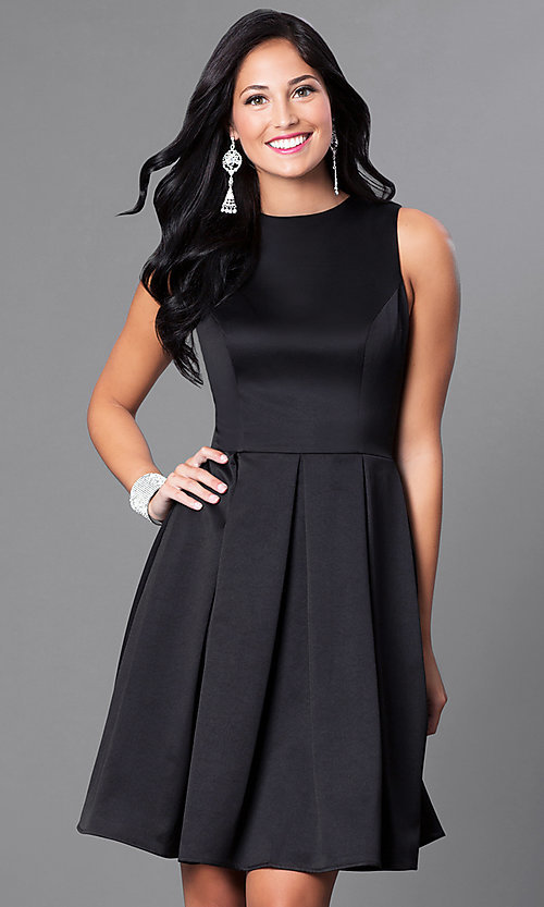 Image of short box-pleated sleeveless homecoming dress. Style: CD-1546 Front Image