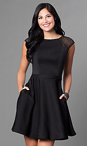 Cap Sleeve Short Dress with Pockets