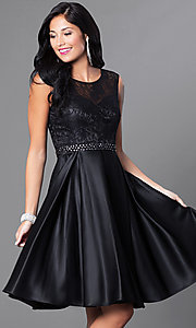 Sleeveless Knee-Length Lace-Bodice Homecoming Dress