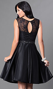 Image of sleeveless knee-length lace-bodice homecoming dress. Style: CD-1548 Back Image