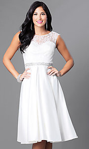 Image of sleeveless knee-length lace-bodice homecoming dress. Style: CD-1548 Detail Image 2