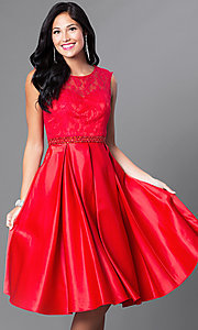 Image of sleeveless knee-length lace-bodice homecoming dress. Style: CD-1548 Detail Image 3