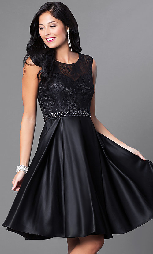 Image of sleeveless knee-length lace-bodice homecoming dress. Style: CD-1548 Front Image