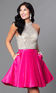 High Neck Open Back Jeweled Bodice Homecoming Dress