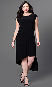 Black High Low Cap Sleeve Dress