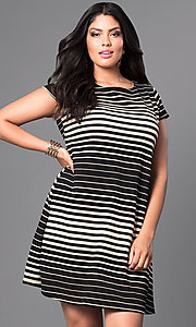Striped Plus-Size Short Shift Dress with Cap Sleeves