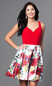 Red Floral Print Short Homecoming Dress