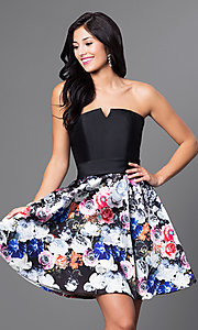 Short Black Floral Print Homecoming Dress