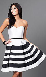 White and Black Striped Satin Homecoming Dress