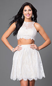 Two-Piece Scalloped Lace Ivory Party Dress
