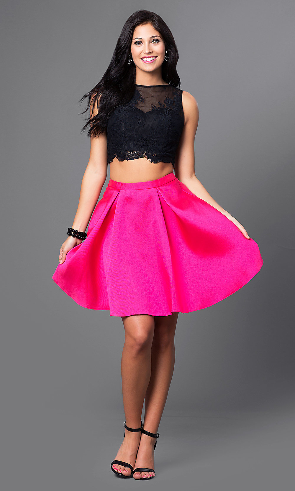 Short Two-Piece Lace-Top Homecoming Dress - PromGirl