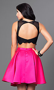 Image of two-piece homecoming dress with scalloped-lace top. Style: TE-T1001 Back Image