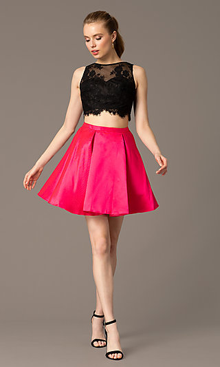 Two-Piece Homecoming Dress with Scalloped-Lace Top