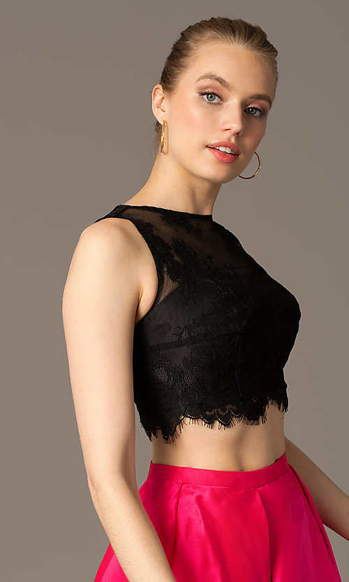 Image of two-piece homecoming dress with scalloped-lace top. Style: TE-T1001 Detail Image 1