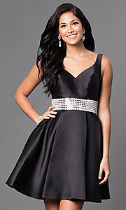 Image of sleeveless satin v-neck short homecoming dress. Style: TE-T1025 Detail Image 3