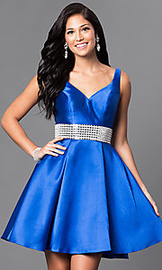 Image of sleeveless satin v-neck short homecoming dress. Style: TE-T1025 Front Image