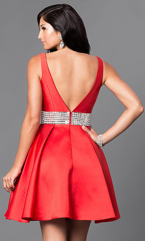 Image of sleeveless satin v-neck short homecoming dress. Style: TE-T1025 Back Image