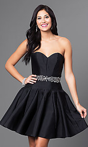 Short Fit and Flare Pleated Homecoming Dress