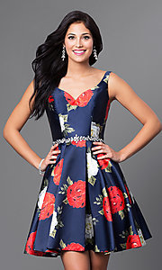 Image of short navy rose-print satin a-line homecoming dress. Style: TE-T1021 Front Image