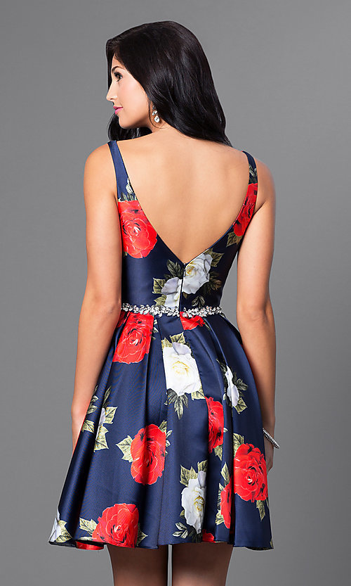 Image of short navy rose-print satin a-line homecoming dress. Style: TE-T1021 Back Image