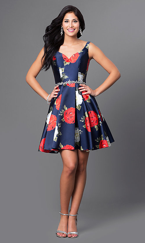 Image of short navy rose-print satin a-line homecoming dress. Style: TE-T1021 Detail Image 1