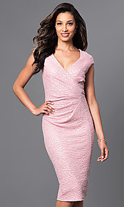 V-Neck Cap Sleeve Over-the-Knee Dress