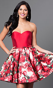 Strapless Sweetheart Floral Print Short Dress