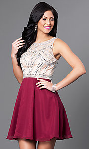 Short Sleeveless Embellished Bodice Dress