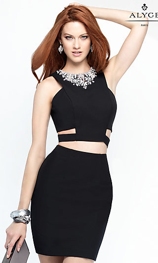 Two-Piece Alyce Party Dress with Cut Outs