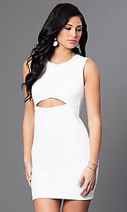 Image of short homecoming mini dress with midriff cut out. Style: CH-2781 Front Image