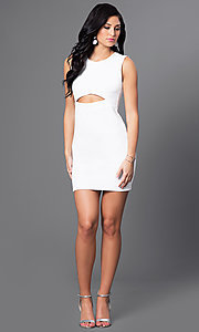 Image of short homecoming mini dress with midriff cut out. Style: CH-2781 Detail Image 1