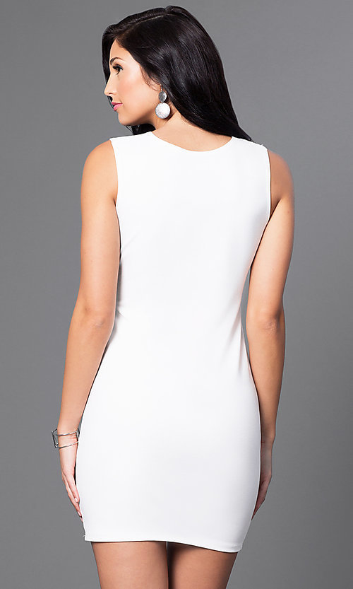 Image of short homecoming mini dress with midriff cut out. Style: CH-2781 Back Image