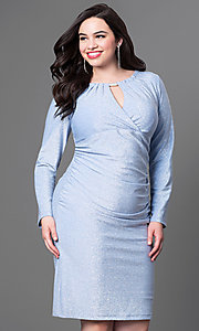 Long-Sleeve Knee-Length Plus-Size Homecoming Dress
