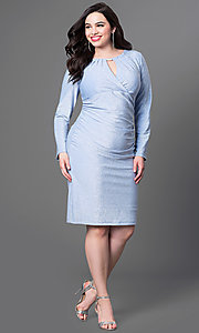 Image of long-sleeve knee-length plus-size homecoming dress. Style: JU-MA-292683i Detail Image 2