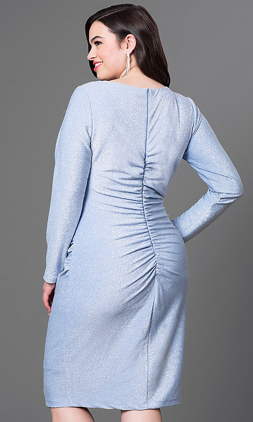 Image of long-sleeve knee-length plus-size homecoming dress. Style: JU-MA-292683i Back Image