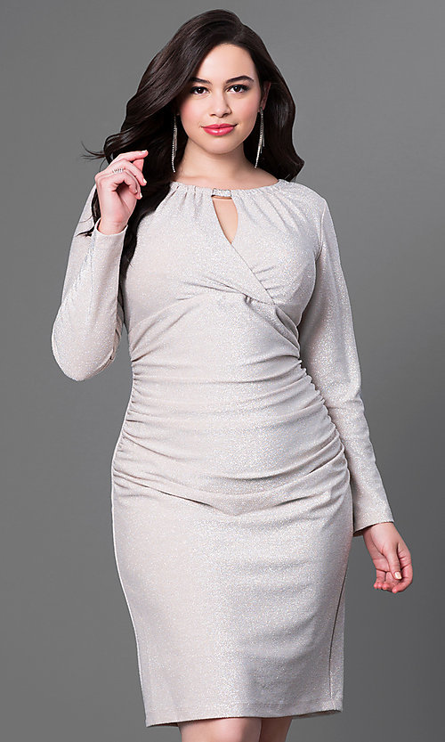 Image of long-sleeve knee-length plus-size homecoming dress. Style: JU-MA-292683i Detail Image 3