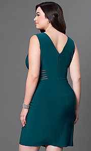 Image of short illusion v-neck sleeveless plus party dress. Style: MO-12272WM Back Image