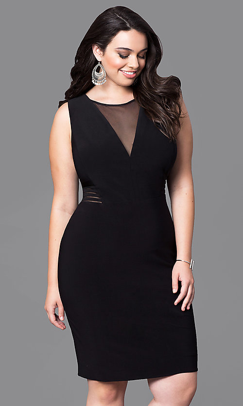 Image of short illusion v-neck sleeveless plus party dress. Style: MO-12272WM Detail Image 2