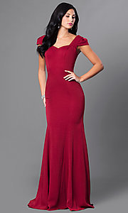 Image of long sweetheart formal dress with cap sleeves. Style: CD-M130 Front Image