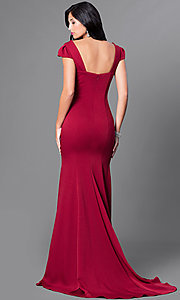 Image of long sweetheart formal dress with cap sleeves. Style: CD-M130 Back Image