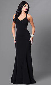 Image of v-neck long mermaid prom dress with sheer sides. Style: CD-M136 Front Image