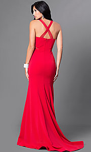 Image of v-neck long mermaid prom dress with sheer sides. Style: CD-M136 Back Image