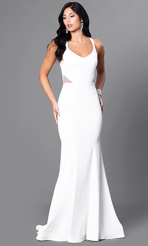 Image of v-neck long mermaid prom dress with sheer sides. Style: CD-M136 Detail Image 2