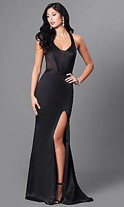 Image of long satin formal dress with illusion cut outs. Style: CD-GL-G651 Front Image