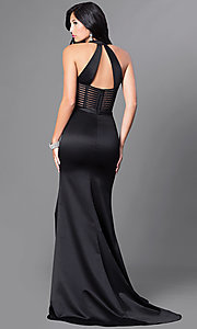 Image of long satin formal dress with illusion cut outs. Style: CD-GL-G651 Back Image