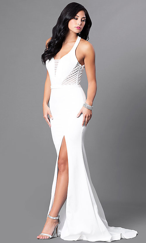 Image of long satin formal dress with illusion cut outs. Style: CD-GL-G651 Detail Image 1