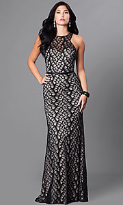 Long Lace Racerback Formal Dress
